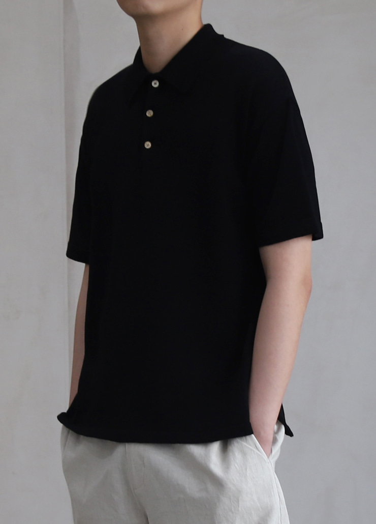 HAZE KNIT POLO SHIRTS BLACK