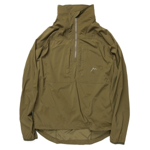 Stretch nylon half zip jacket  / brown khaki