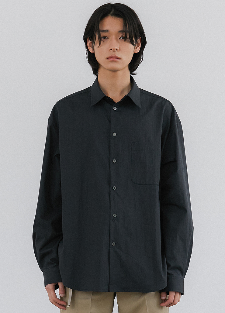 ESSENTIAL OVERSIZED SHIRTS (CHARCOAL)